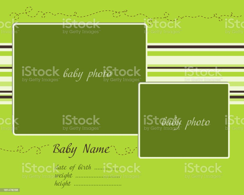 Baby Arrival Card with Photo Frames royalty-free stock vector art