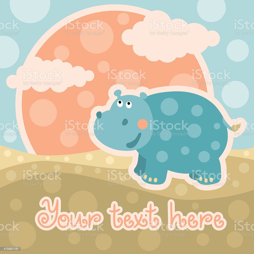 Baby background with hippopotamus and space for text royalty-free stock vector art