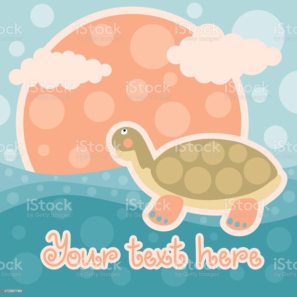 Baby background with turtle and space for text royalty-free stock vector art