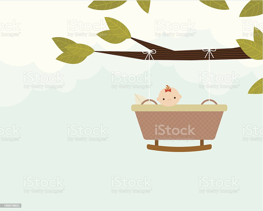 Baby Bassinet on a Branch royalty-free stock vector art