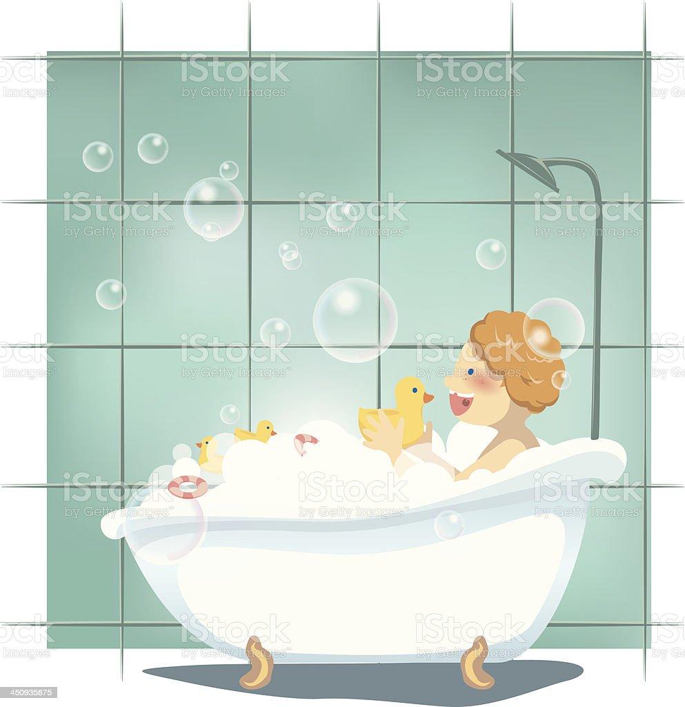 baby bath vector art illustration