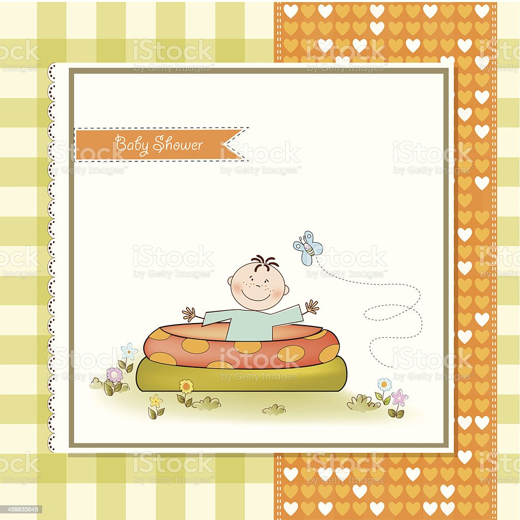 baby bathe in a small pool . shower announcement card royalty-free stock vector art