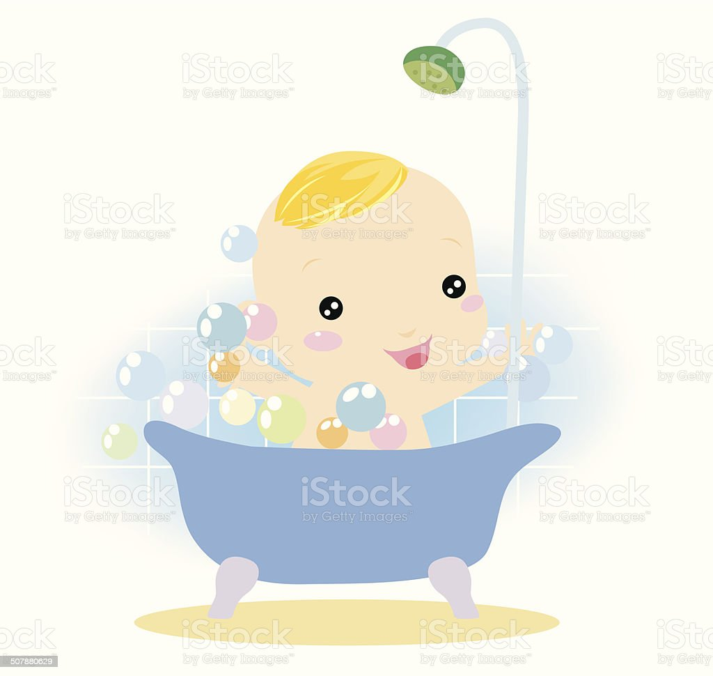 Baby bathing royalty-free stock vector art