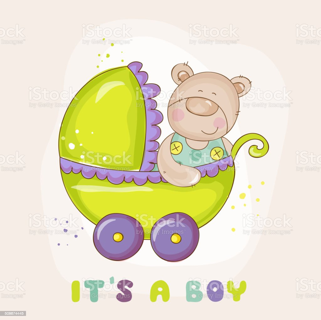 Baby Bear in Carriage vector art illustration