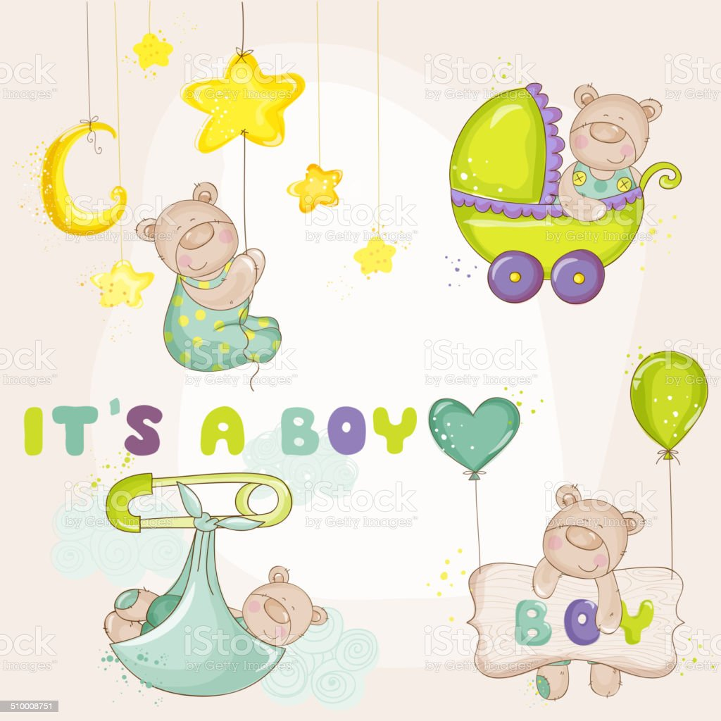 Baby BearSet - for Baby Shower or Baby Arrival Cards vector art illustration