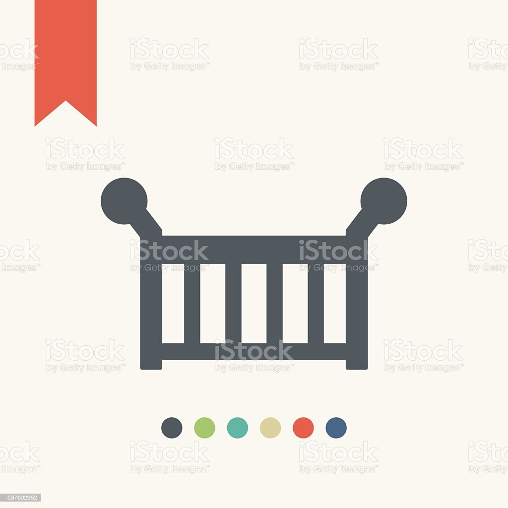 Baby bed icon vector art illustration