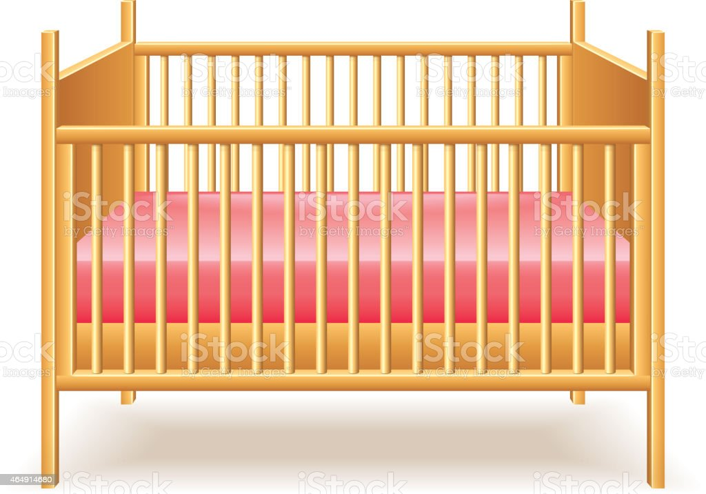 Baby bed isolated on white vector vector art illustration