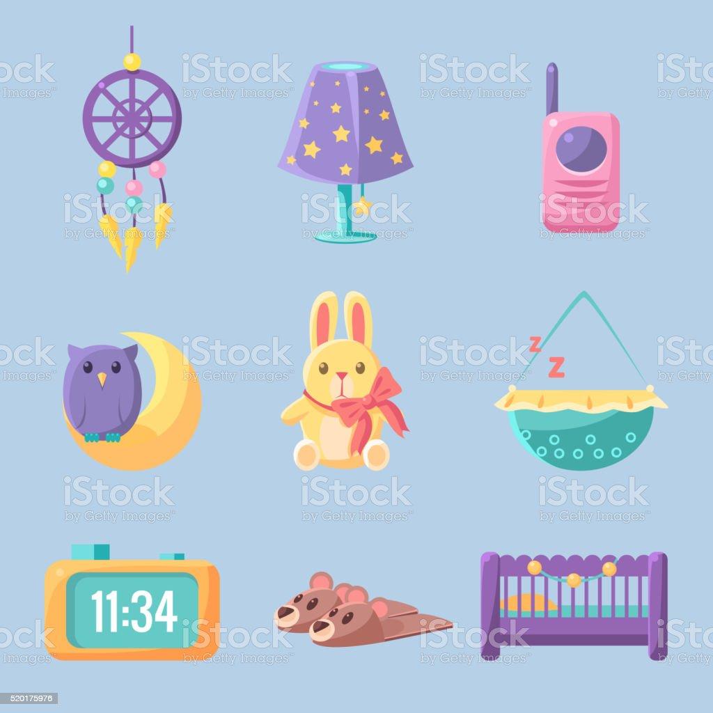 Baby Bedroom Decoration Set vector art illustration
