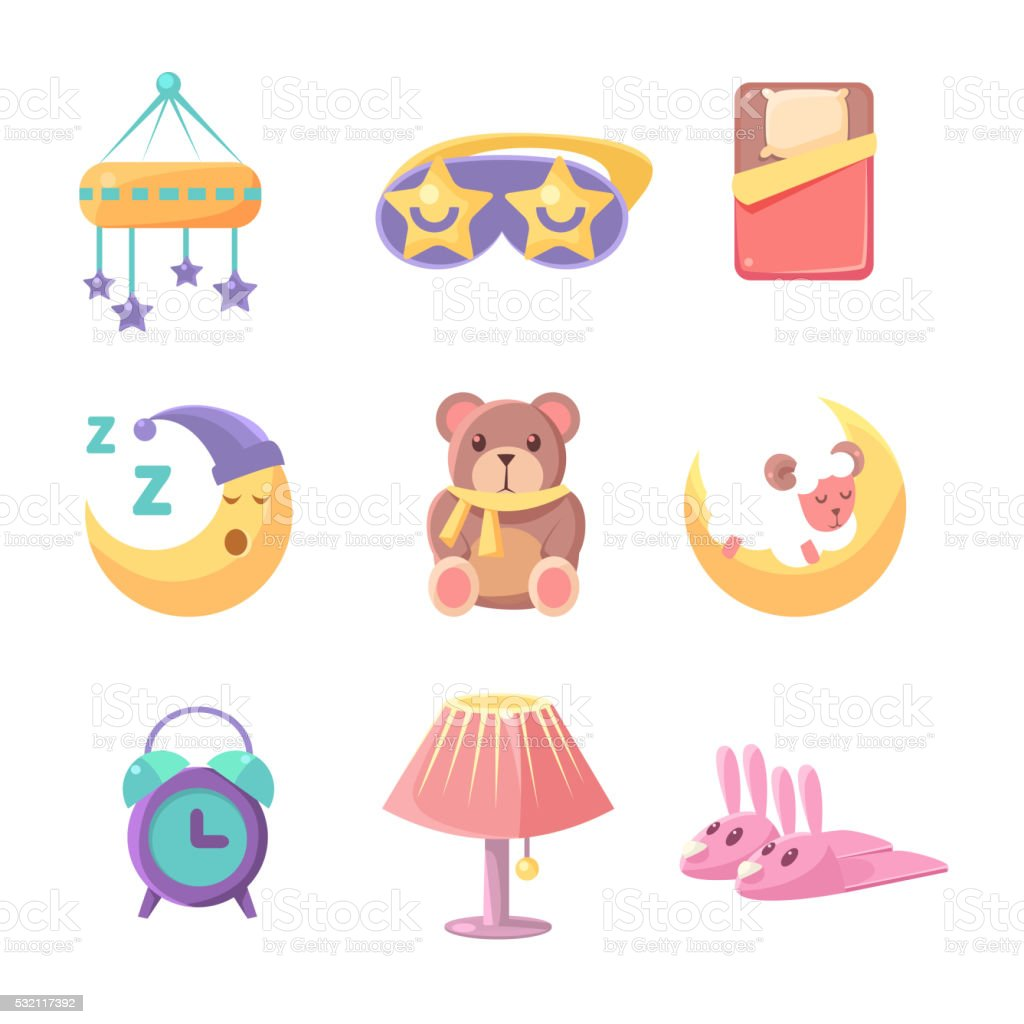 Baby Bedroom Objects Set vector art illustration