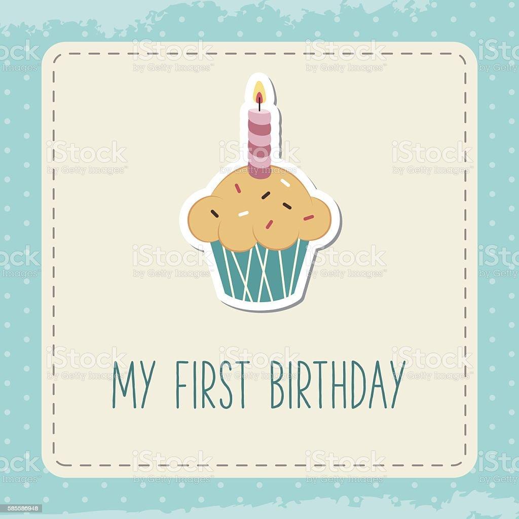 Baby birthday card. vector art illustration
