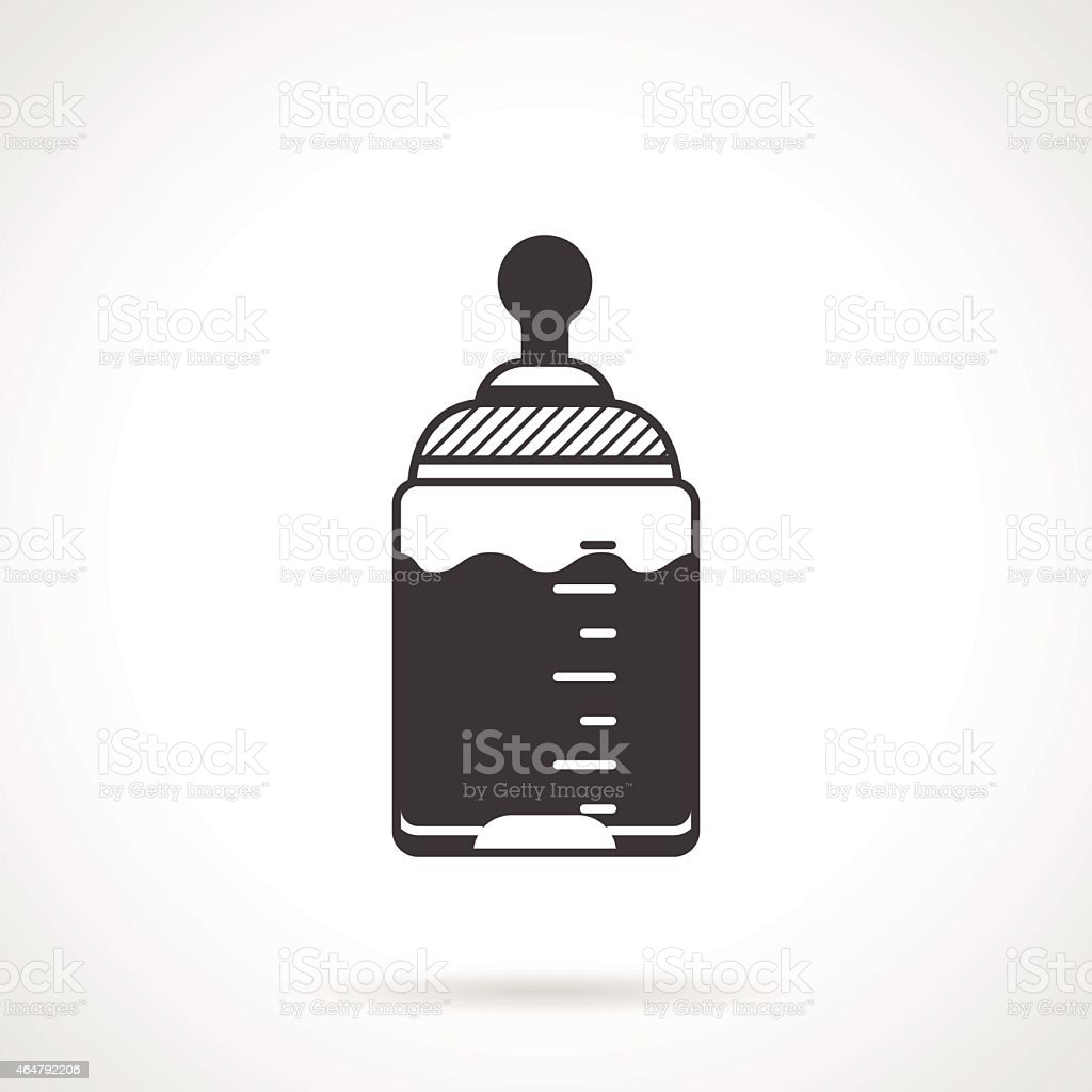 Baby bottle black vector icon vector art illustration