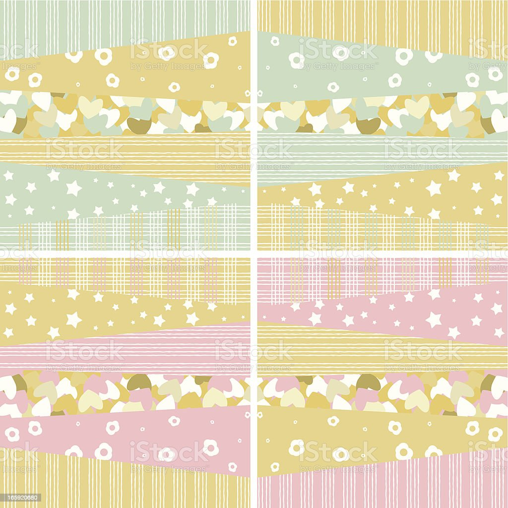 Baby boy and girl patterns royalty-free stock vector art