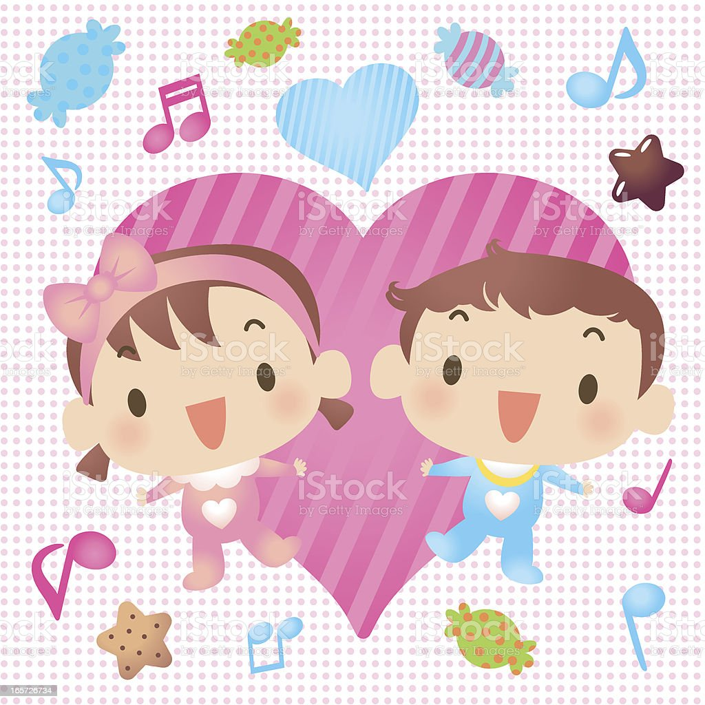 Baby Boy And Girl Showing Love With Candy royalty-free stock vector art
