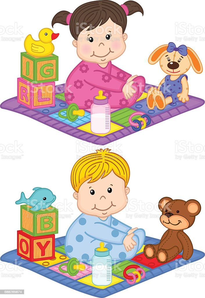 baby boy and girl sit on the carpet with toys vector art illustration