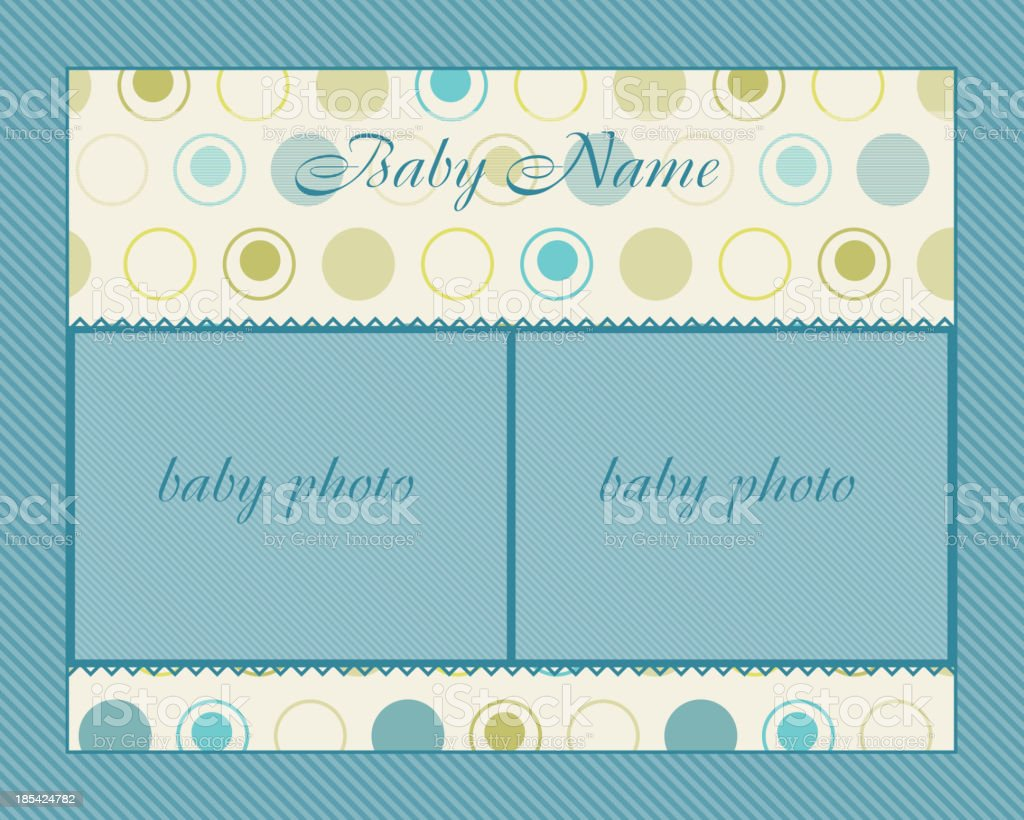 Baby Boy Arrival Card with Frame royalty-free stock vector art