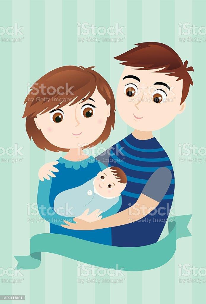 Baby Boy Arrival vector art illustration