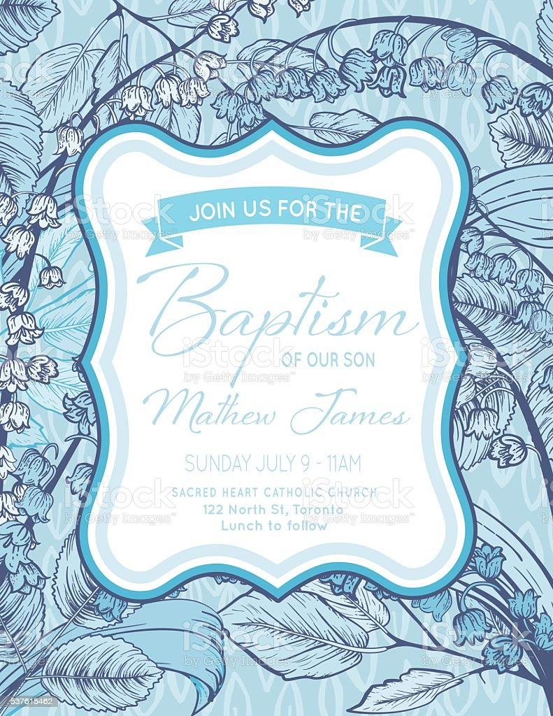 Baby Boy Baptism Or Christening Invitation Template Stock