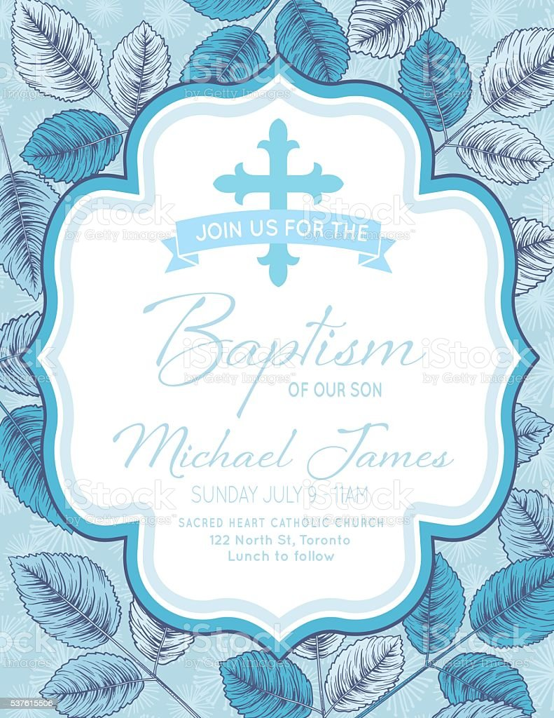Baby Boy Baptism Or Christening Invitation Template stock ...