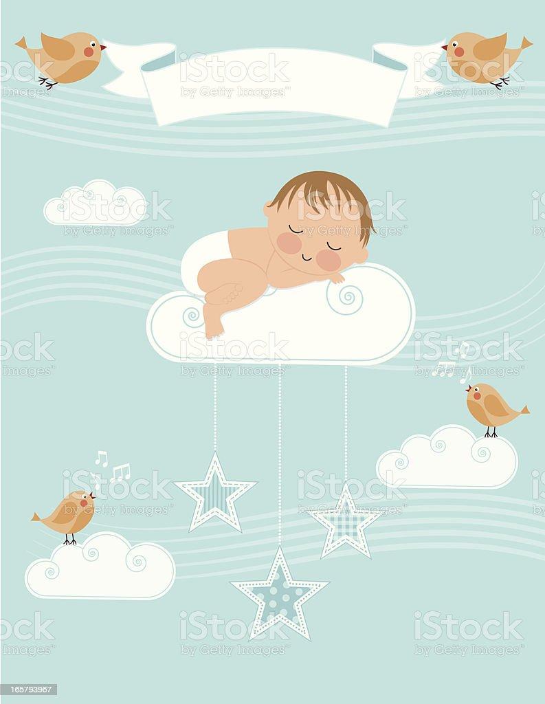 Baby Boy Birth Announcement vector art illustration
