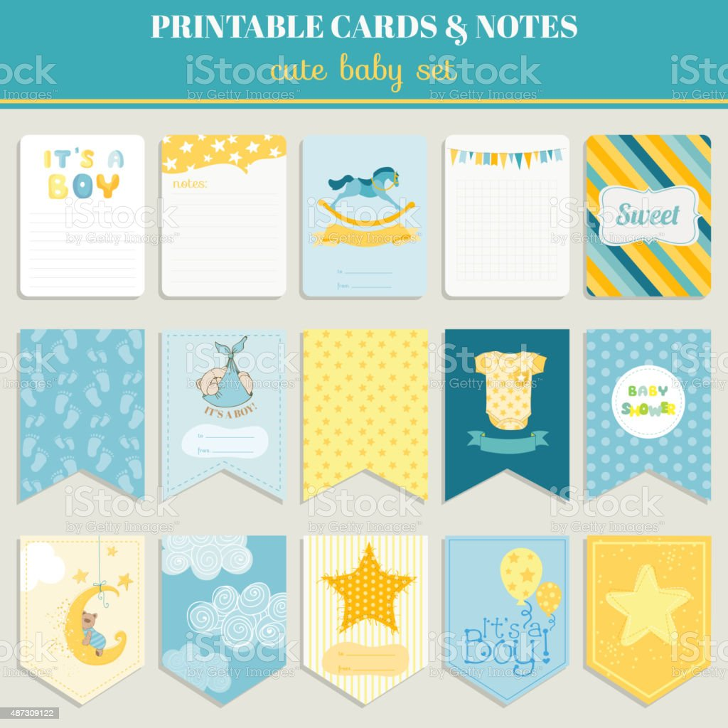 Baby Boy Card Set - for birthday, baby shower, party vector art illustration