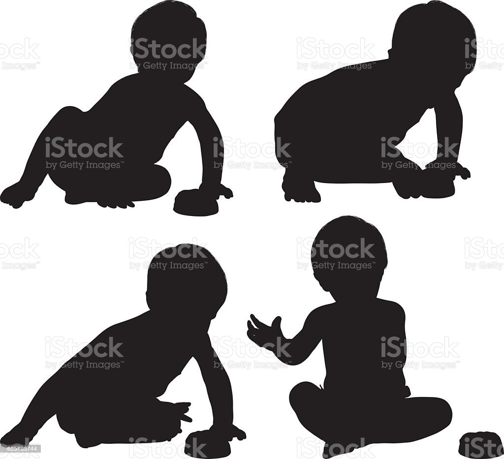 Baby boy eating cake vector art illustration
