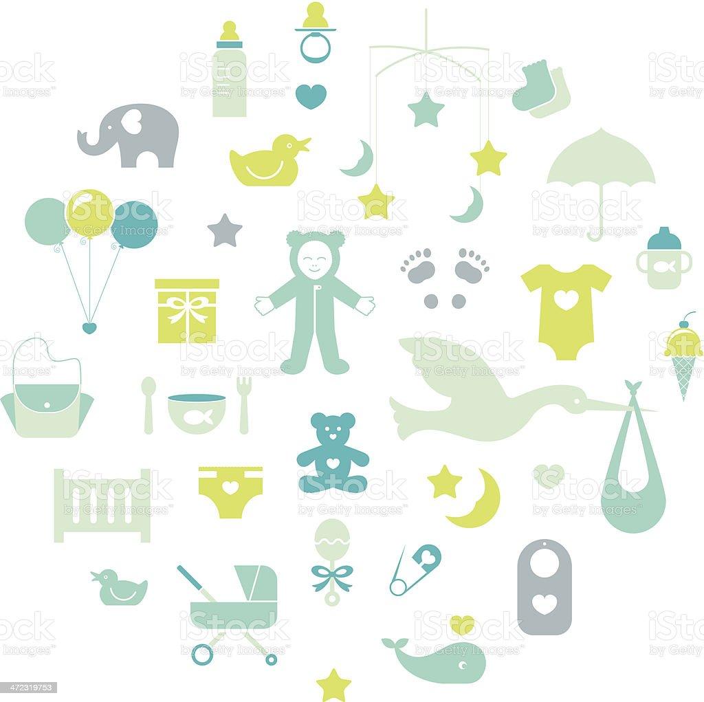 Baby Boy Icons vector art illustration