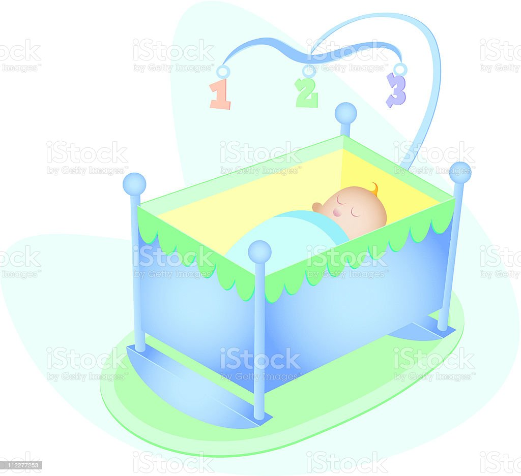 Baby Boy in Crib royalty-free stock vector art
