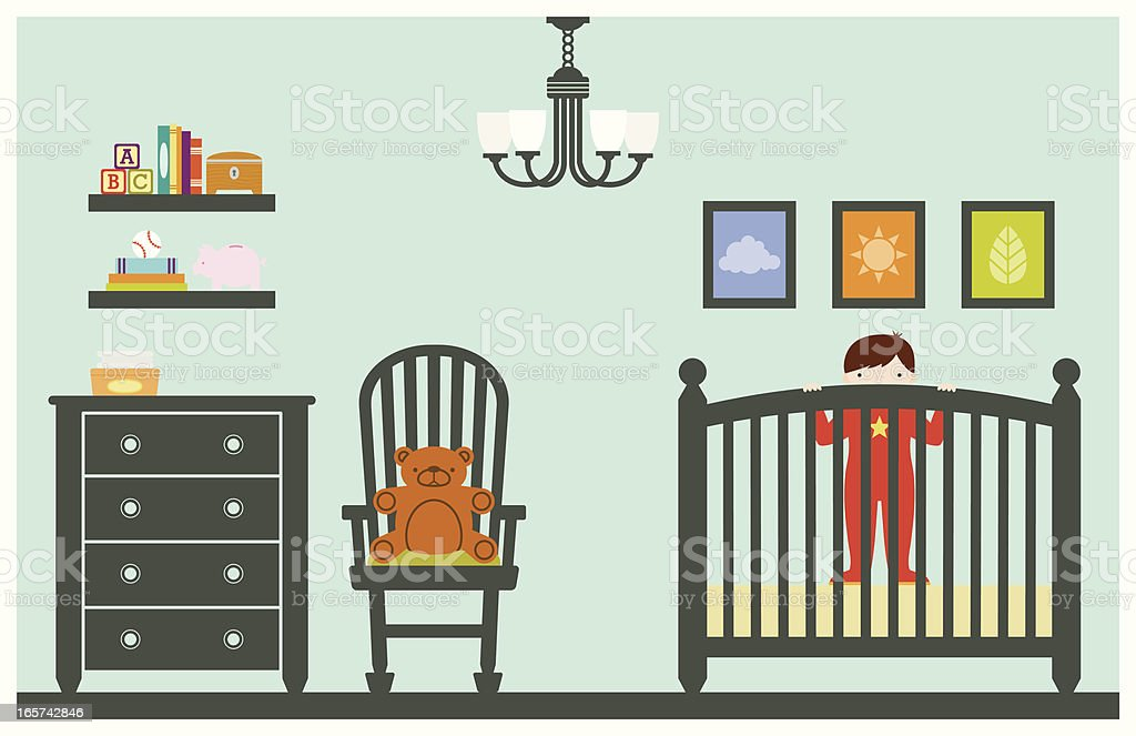 Baby Boy in Nursery vector art illustration