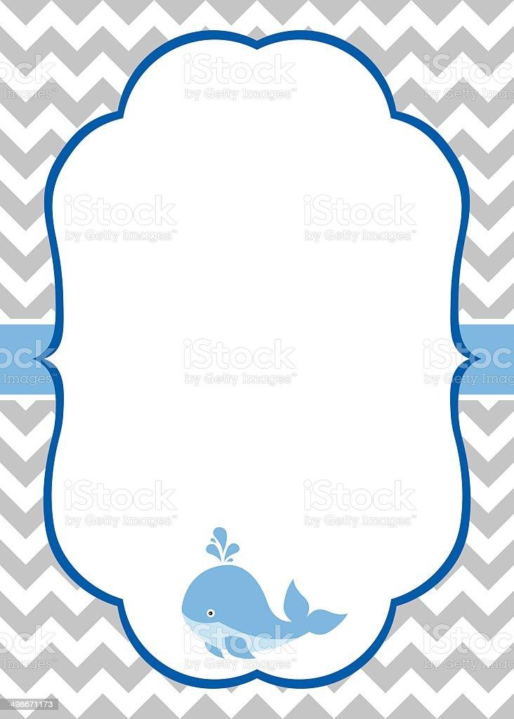 Baby Boy Invitation Card vector art illustration
