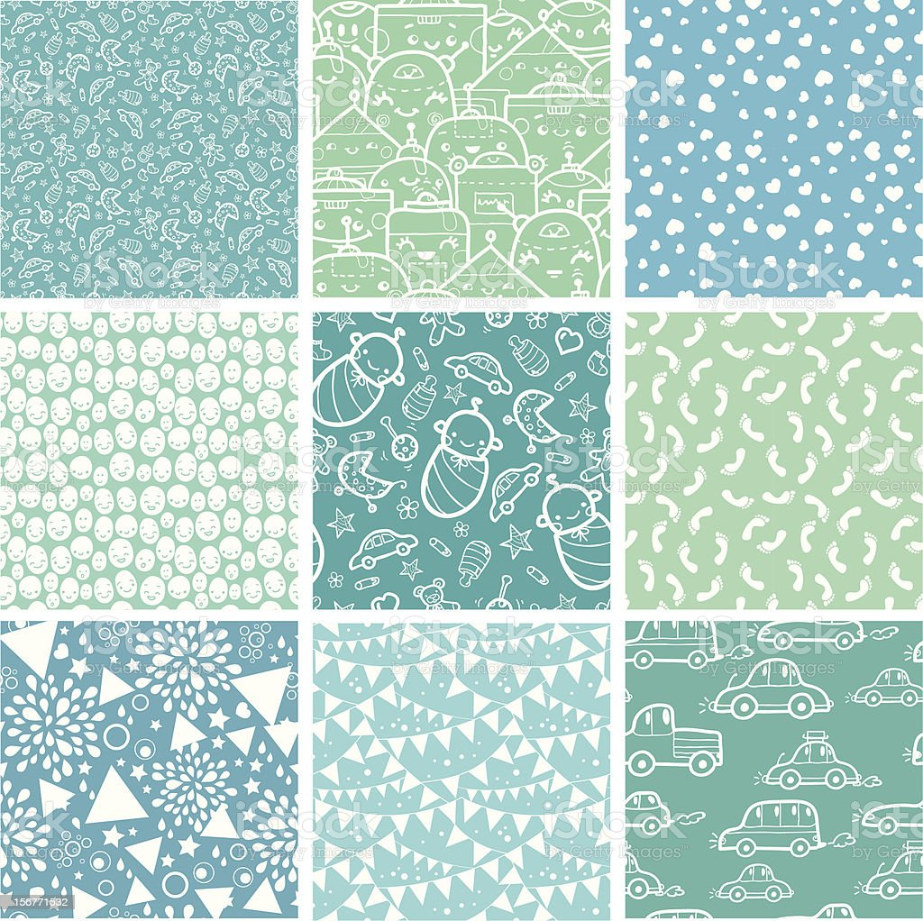 Baby Boy Nine Seamless Patterns Set royalty-free stock vector art