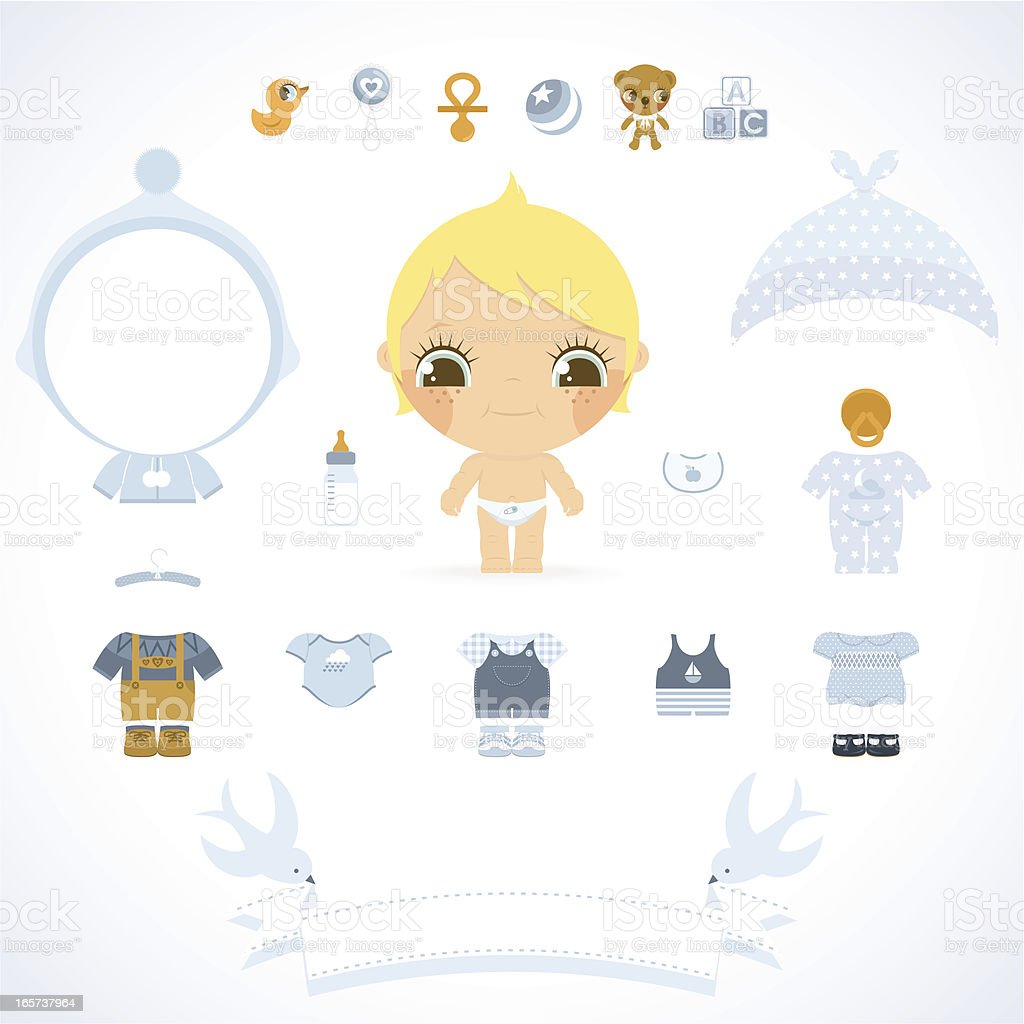Baby boy set. Blue wear, toys and banner for name vector art illustration