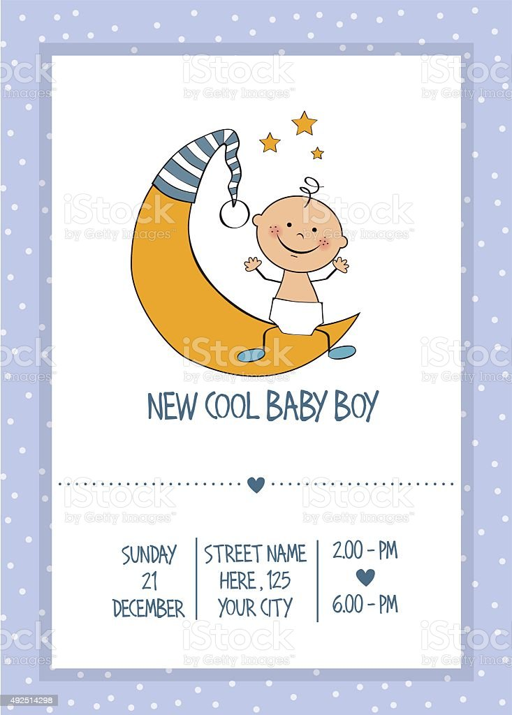 baby boy shower card vector art illustration