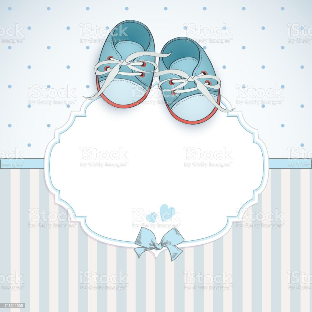 Baby boy shower card. vector art illustration