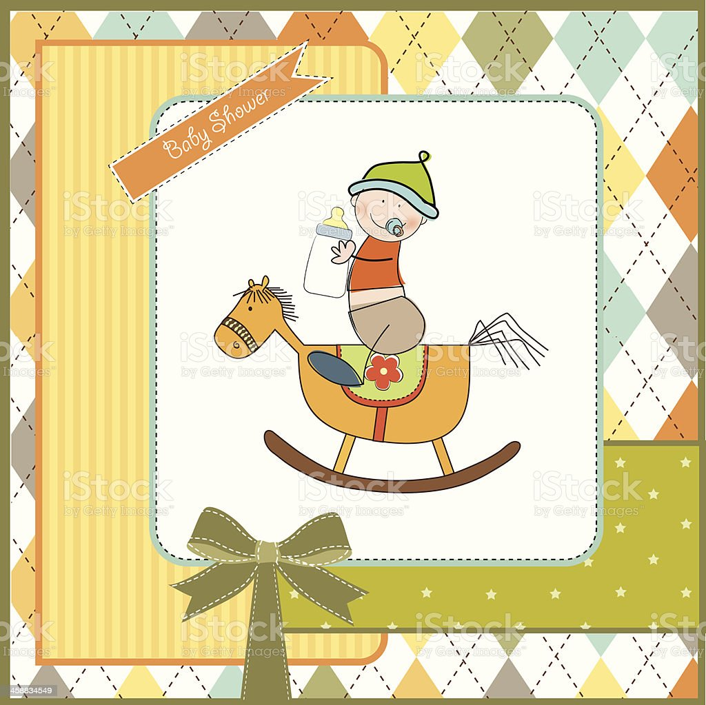 baby boy shower with wood horse toy vector art illustration