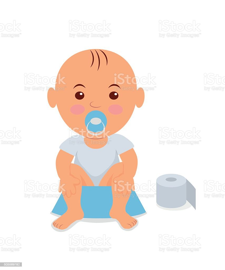 Baby boy sitting on the potty. Learning to pee vector art illustration
