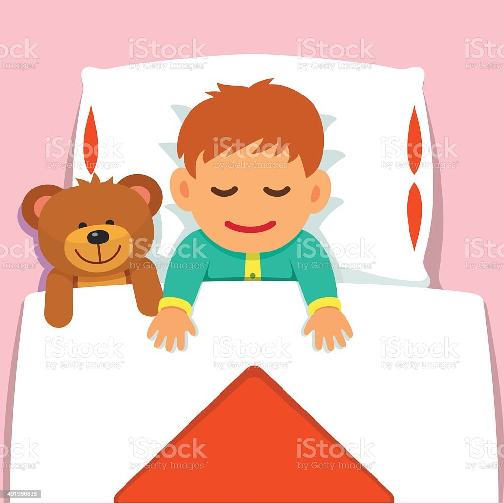 Baby boy sleeping with his plush teddy bear toy vector art illustration