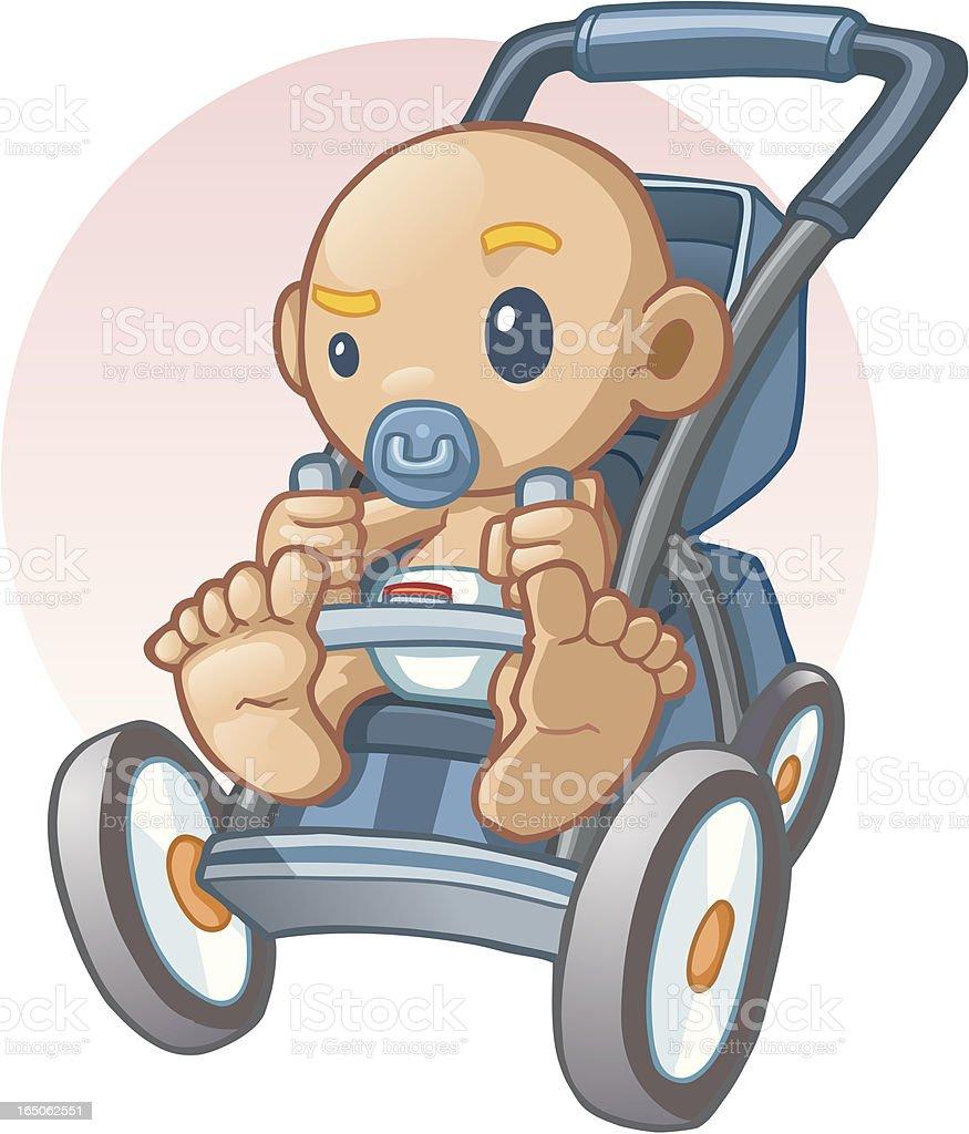 baby boy stroller royalty-free stock vector art
