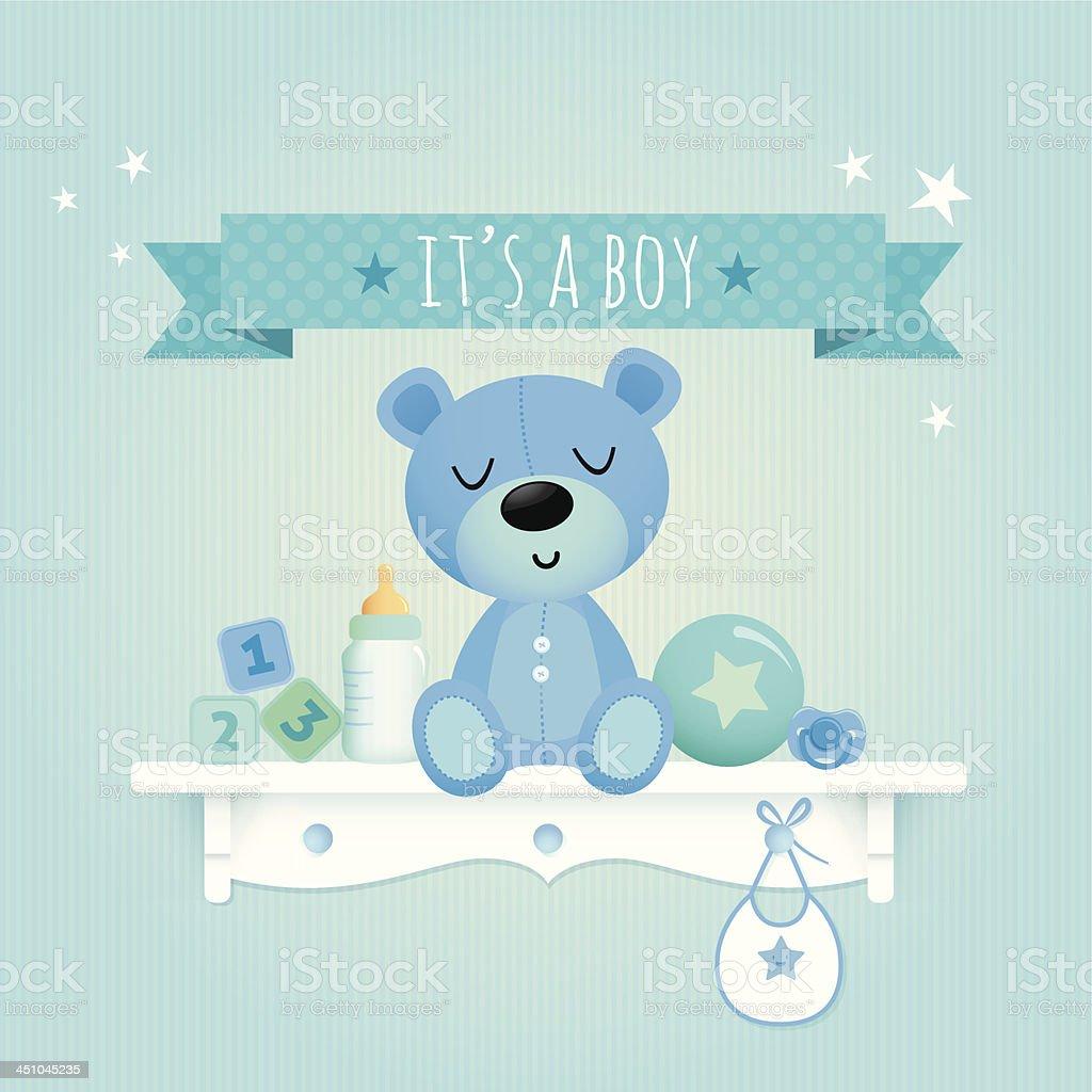 Baby boy teddy vector art illustration