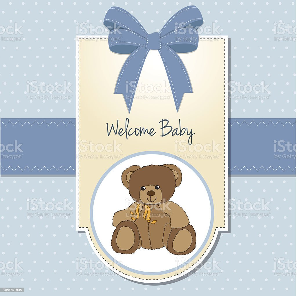 baby boy welcome card with teddy bea vector art illustration
