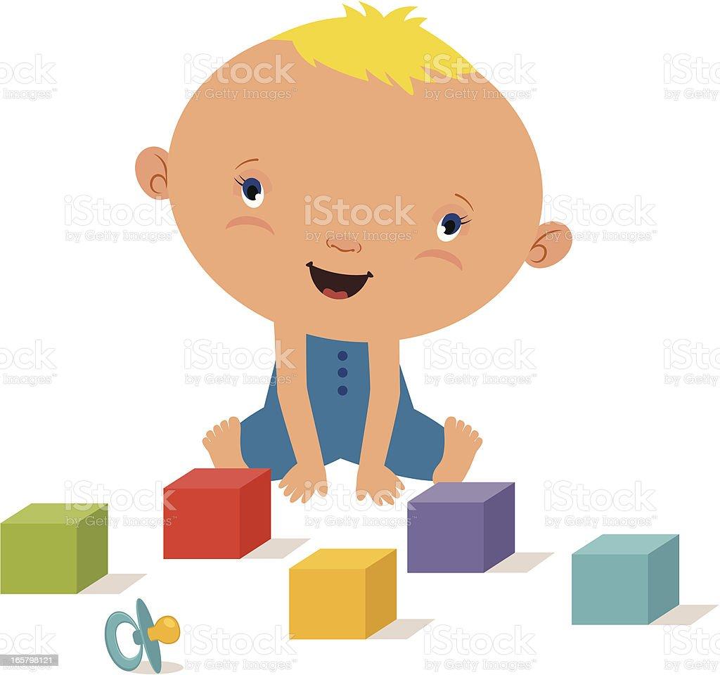 Baby boy with blocks royalty-free stock vector art