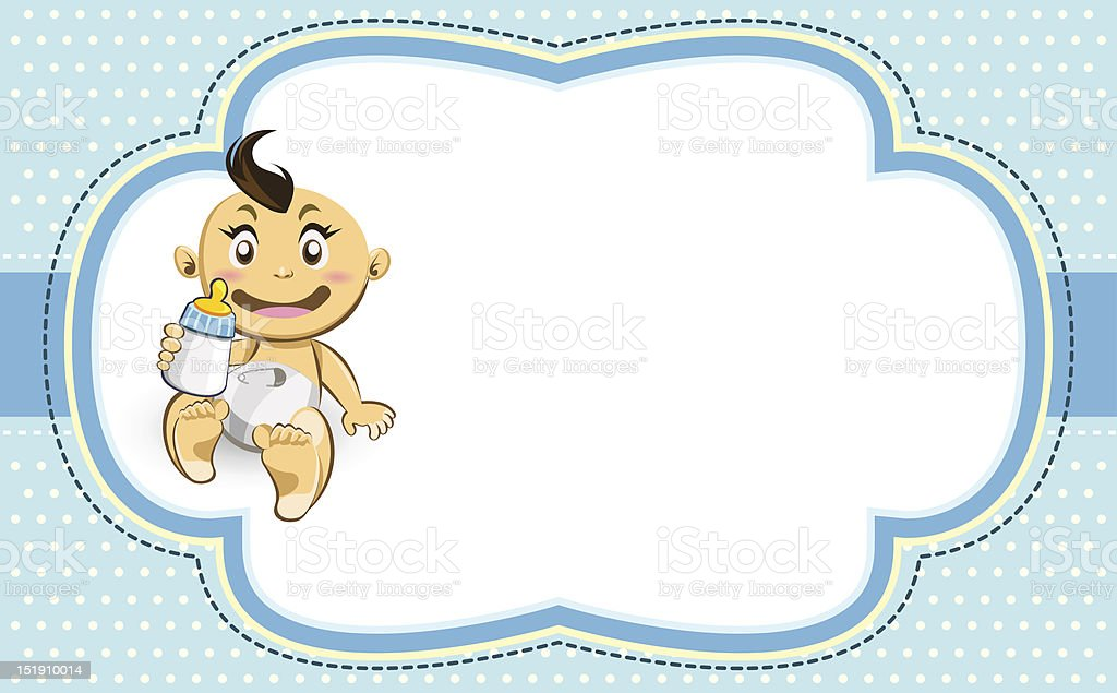 Baby Boys Ornate Blue Bubble Frame royalty-free stock vector art