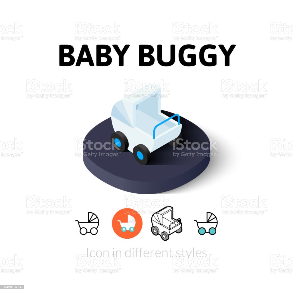 Baby buggy icon in different style vector art illustration