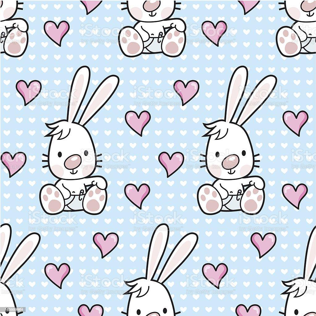 baby bunny seamless pattern / cartoon vector art illustration