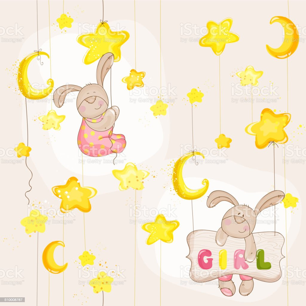 Baby Bunny Seamless Pattern - for background, design, card vector art illustration
