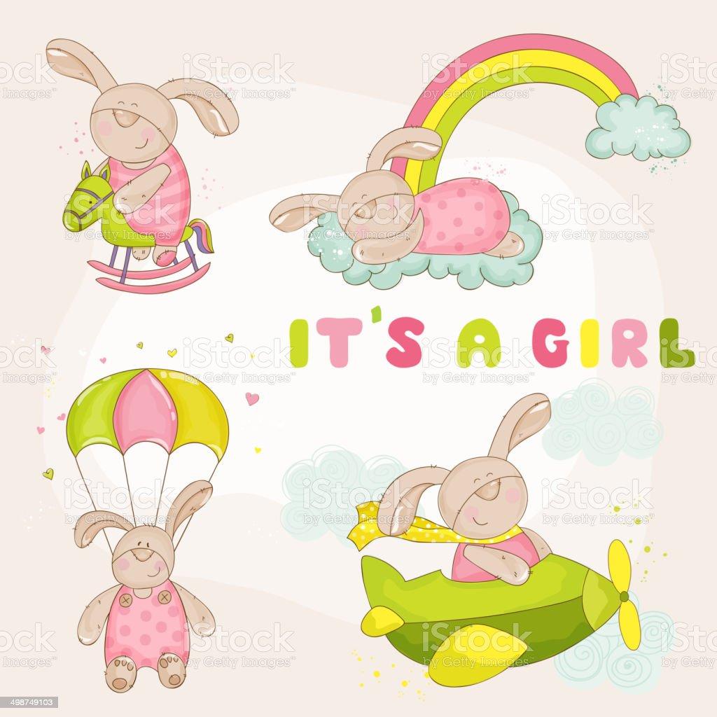 Baby Bunny Set - Baby Shower or Arrival Card vector art illustration