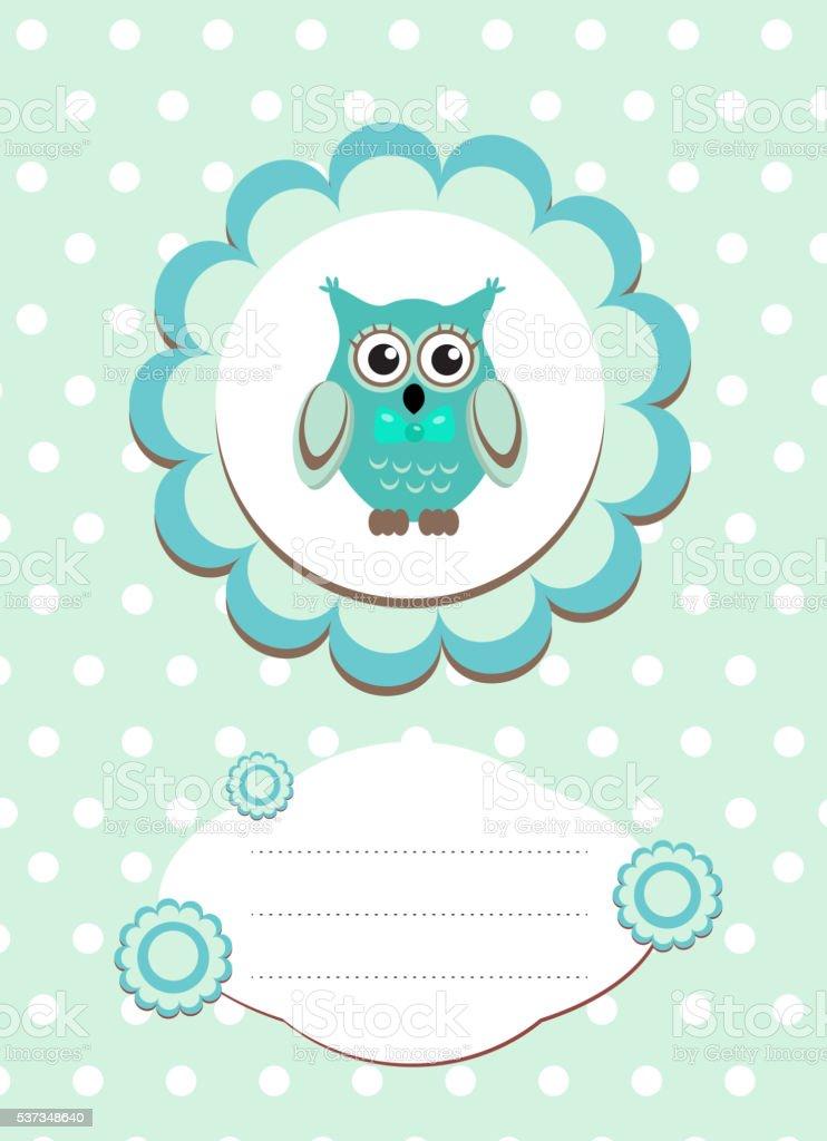 baby card cute owl vector art illustration