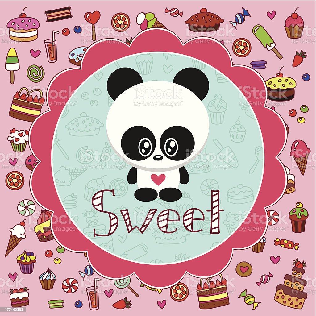 Baby card with cute panda royalty-free stock vector art
