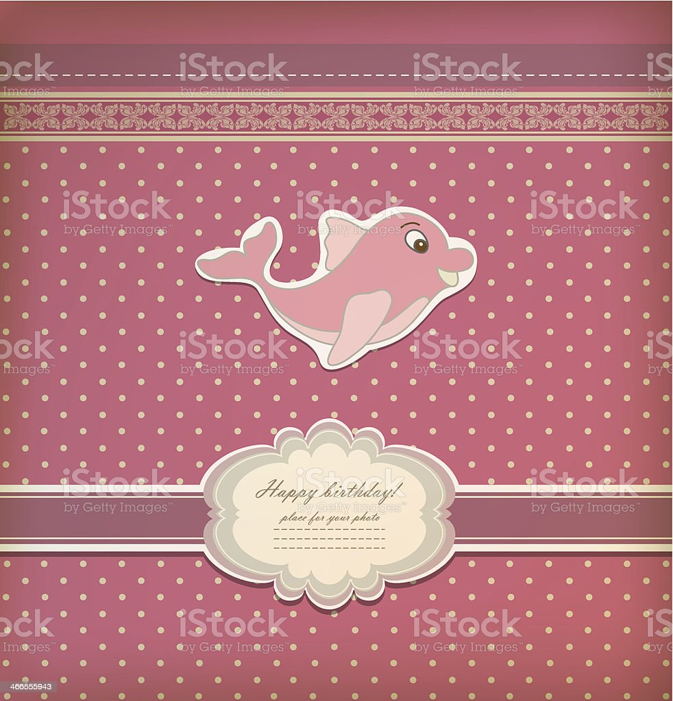 Baby card with dolphin toy vector royalty-free stock vector art