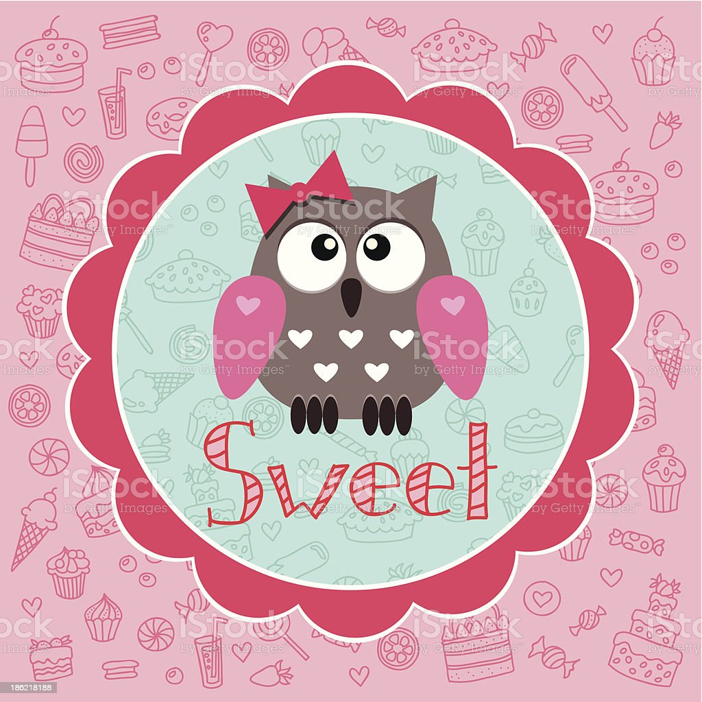 Baby card with owlet royalty-free stock vector art
