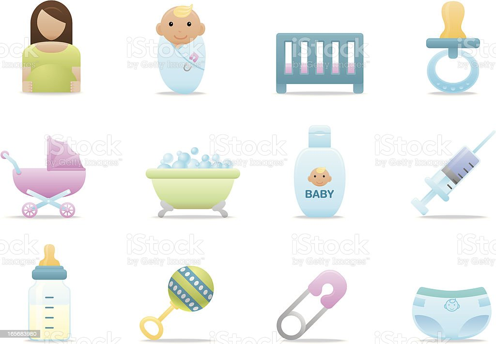 Baby Care icons | Premium Matte series royalty-free stock vector art